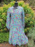 1920's Turquoise floral printed crepe de chine vintage dress **SOLD**